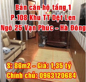 Bán căn hộ tập thể tầng 1 khu tập thể Dệt Len, ngõ 25 Vạn Phúc, Hà Đông