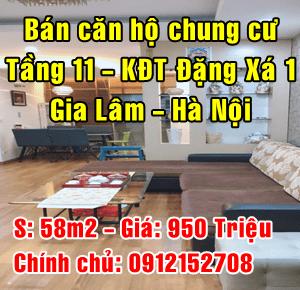 Chính chủ bán căn hộ chung cư khu đô thị Đặng Xá 1, Gia Lâm, Hà Nội