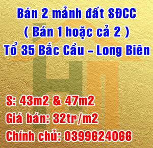 Chính chủ bán mảnh đất thổ cư tại tổ 35 Bắc Cầu, Ngọc Thụy, Long Biên