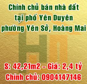 Chính chủ bán nhà đất tại phố Yên Duyên, Phường Yên Sở, Quận Hoàng Mai