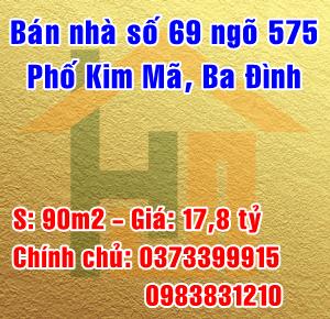 Chính chủ bán nhà số 69 ngõ 575 Kim Mã, Ngọc Khánh,Ba Đình, Hà Nội