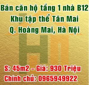 Bán căn hộ tầng 1 nhà B12 khu tập thể Tân Mai, Quận Hoàng Mai, Hà Nội
