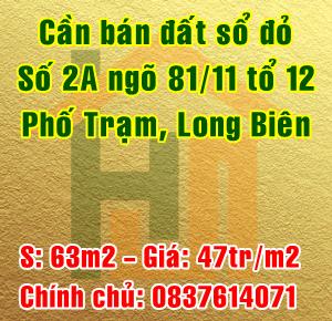 Bán đất số 2A ngõ 81/11 tổ 12 Phố Trạm, Phường Long Biên, Quận Long Biên