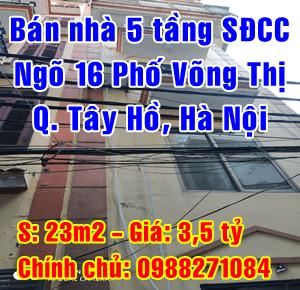Bán nhà ngõ 16 Phố Võng Thị, Phường Thụy Khuê, Quận Tây Hồ, Hà Nội