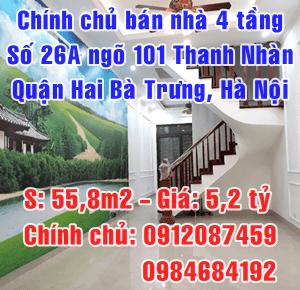 Chính chủ bán nhà số 26A ngõ 101 phố Thanh Nhàn, Hai Bà Trưng, Hà Nội