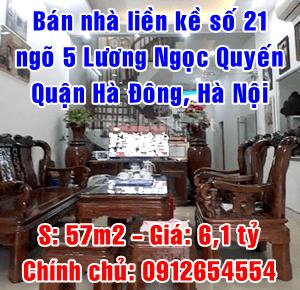 Chính chủ bán nhà liền kề số 21 ngõ 5 Lương Ngọc Quyến, Văn Quán, Hà Đông