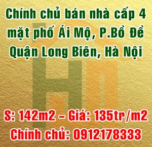 Chính chủ bán nhà cấp 4 mặt phố Ái Mộ, phường Bồ Đề, quận Long Biên