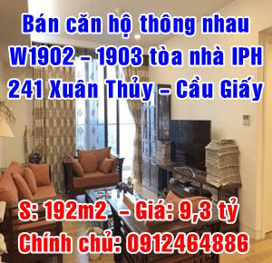 Chính chủ cần bán căn hộ W1902-1903 toà nhà IPH 241 Xuân Thuỷ, Cầu Giấy, Hà Nội
