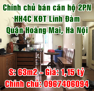 Chính chủ bán căn hộ HH4C khu đô thị Linh Đàm, quận Hoàng Mai