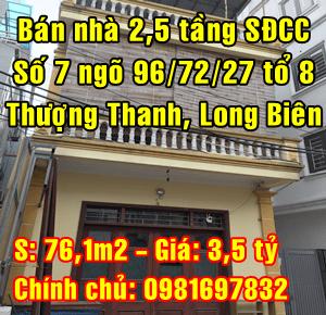 Bán nhà số 7 ngõ 96/72/27 Tổ 8 Phường Thượng Thanh, Quận Long Biên