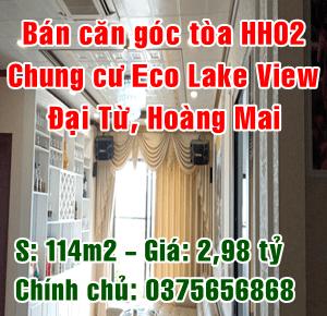 Bán căn góc tòa HH02 chung cư Eco Lake View số 32 Đại Từ, Quận Hoàng Mai