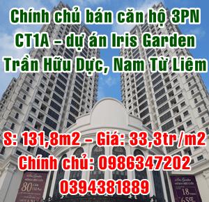 Chính chủ cần bán gấp Căn hộ tòa CT1A, dự án Iris Garden, Nam Từ Liêm