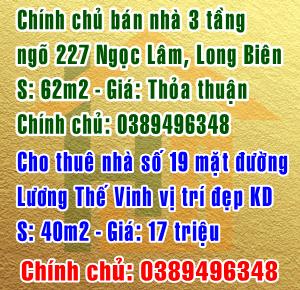 Chính chủ bán nhà ngõ 227 phố Ngọc Lâm, quận Long Biên