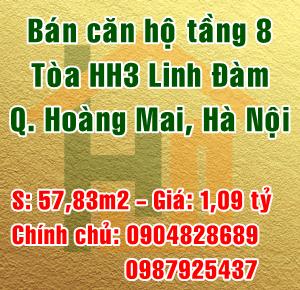 Bán căn hộ tầng 8 tòa HH3 chung cư Linh Đàm, Quận Hoàng Mai, Hà Nội
