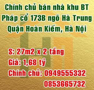 Bán nhà trong khu biệt thự Pháp cổ, 173B ngõ Hà Trung, Quận Hoàn Kiếm