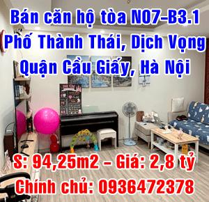 Bán căn hộ 2PN, tòa N07-B3.1 phố Thành Thái, phường Dịch Vọng, quận Cầu Giấy