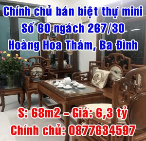 Chính chủ bán nhà biệt thự mini ngõ 267 Hoàng Hoa Thám, Quận Ba Đình