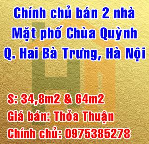 Chính chủ bán nhà Phố Chùa Quỳnh, Quận Hai Bà Trưng, Hà Nội