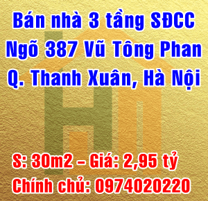 Bán nhà ngõ 387 Vũ Tông Phan, Phường Khương Đình, Quận Thanh Xuân