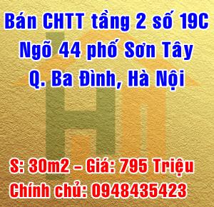 Bán nhà tập thể tầng 2, số nhà 19C ngõ 44 Phố Sơn Tây, Quận Ba Đình