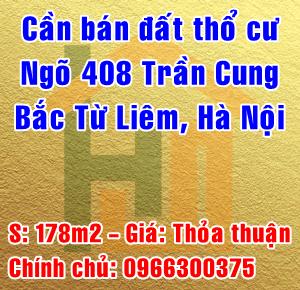 Chính chủ bán đât thổ cư ngõ 408 Trần Cung, Cổ Nhuế 1, Quận Bắc Từ Liêm