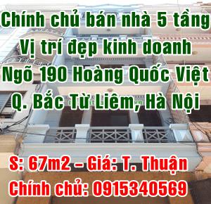 Chính chủ bán nhà 5 tầng ngõ 190 đường Hoàng Quốc Việt, Quận Bắc Từ Liêm
