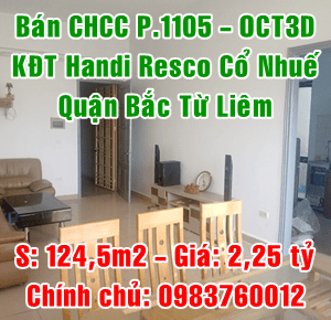 Chính chủ bán căn góc tòa OCT3D, KĐT Handi Resco Cổ Nhuế, Bắc Từ Liêm