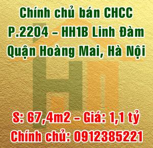 Chính chủ bán căn hộ chung cư 2204 - HH1B Linh Đàm, quận Hoàng Mai