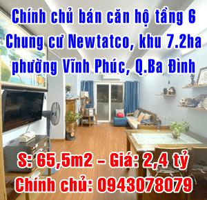 Chính chủ bán căn hộ tầng 6 chung cư Newtatco, khu 7.2ha, Vĩnh Phúc, Ba Đình