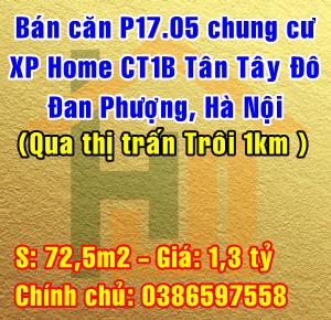 Bán căn hộ P.1705 chung cư XP Home CT1B Tân Tây Đô, Đan Phượng, Hà Nội