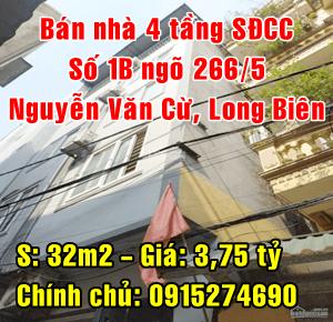 Chính chủ bán nhà số 1B ngõ 266/5 Nguyễn Văn Cừ, Long Biên, Hà Nội