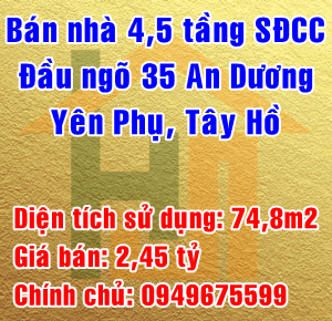 Chính chủ bán nhà ngay đầu ngõ 35 phố An Dương, Phường Yên Phụ, Quận Tây Hồ