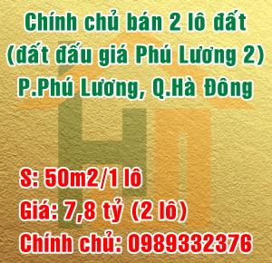 Chính chủ bán 2 lô đất đấu giá Phú Lương 2, quận Hà Đông
