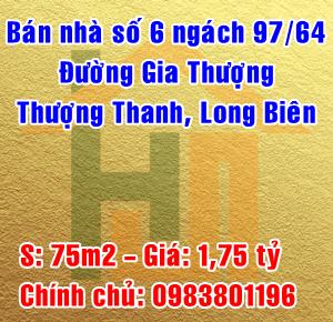 Bán nhà số 6 ngách 97/64 Gia Thượng, Phường Thượng Thanh, Quận Long Biên