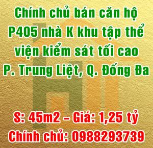 Chính chủ bán căn hộ P405 nhà K, tập thể viện kiểm sát, Trung Liệt, Đống Đa
