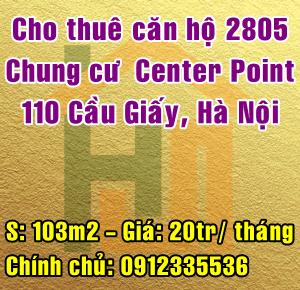 Chính chủ cho thuê căn hộ chung cư Center Point 110 Cầu Giấy, Hà Nội