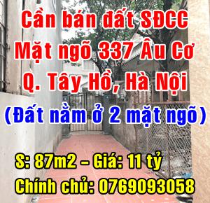 Chính chủ bán đất thổ cư mặt ngõ 337 Âu Cơ, Quận Tây Hồ, Hà Nội