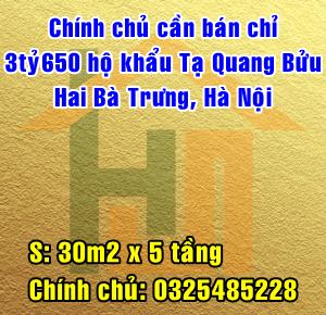 Chính chủ cần bán - Chỉ 3 tỷ 650 hộ khẩu Tạ Quang Bửu, Hai Bà Trưng, Hà Nội
