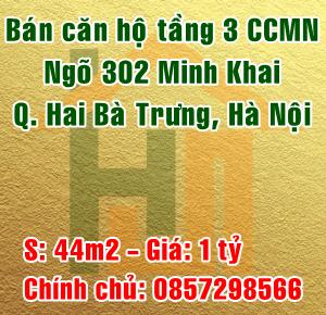 Bán căn 301 chung cư mini số 6 ngõ 302 Minh Khai, Quận Hai Bà Trưng, Hà Nội