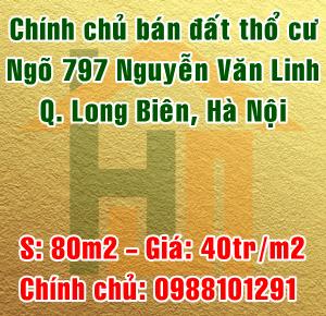 Bán đất tổ 1 Sài Đồng, ngõ 797 Nguyễn Văn Linh, Quận Long Biên