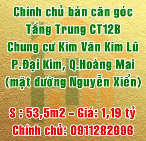Chính chủ bán căn góc tòa CT12B chung cư Kim Văn Kim Lũ, quận Hoàng Mai