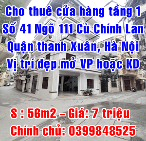 Chính chủ cho thuê nhà tầng 1, số 41 ngõ 111 Cù Chính Lan, quận Thanh Xuân