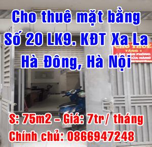 Cho thuê mặt bằng tầng 1 số nhà 20 LK 9, Khu Đô Thị Xa La, Hà Đông, Hà Nội