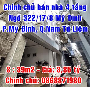 Chính chủ bán nhà số 12 ngõ 322/17/8 Mỹ Đình, Quận Nam Từ Liêm