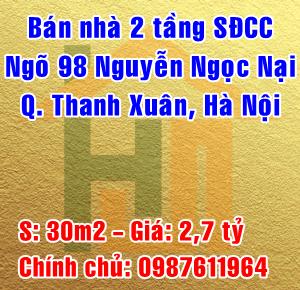 Chính chủ bán nhà ngõ 98 Nguyễn Ngọc Nại, Phường Khương Mai, Quận Thanh Xuân
