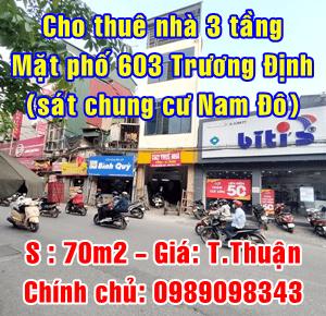 Chính chủ cho thuê nhà mặt phố 603 Trương Định, Quận Hoàng Mai