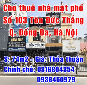 Cho thuê nhà số 103 mặt phố Tôn Đức Thắng, Quận Đống Đa, Hà Nội