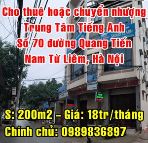 Cho thuê trung tâm Anh Ngữ số 70 đường Quang Tiến, Đại Mỗ, Nam Từ Liêm
