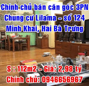 Chính chủ bán căn góc C1103 chung cư Lilama, 124 Minh Khai, Hai Bà Trưng, Hà Nội