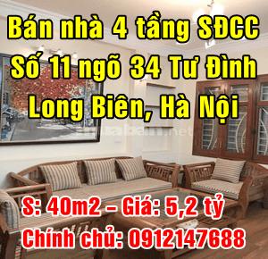 Chính chủ bán nhà số 11 ngõ 34 Tư Đình, Phường Long Biên, Quận Long Biên